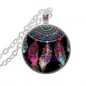 Dreamcatcher W/ Black Silver and Glass Necklace